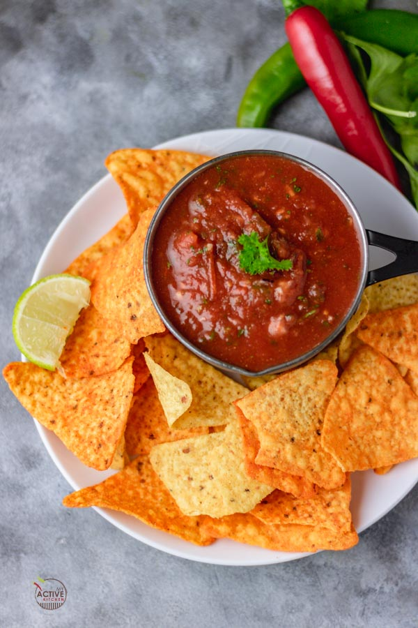 overhead shot of homemade salsa and corn chips.