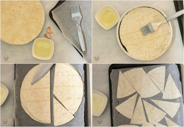 process shot of how to make homemade baked flour tortilla chips