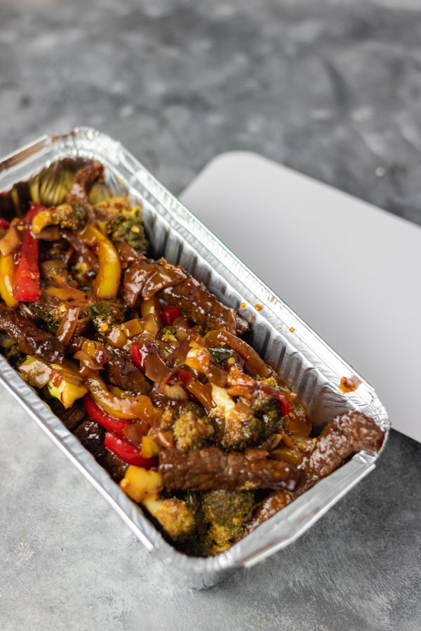 stir fry in a takeout foil pack.