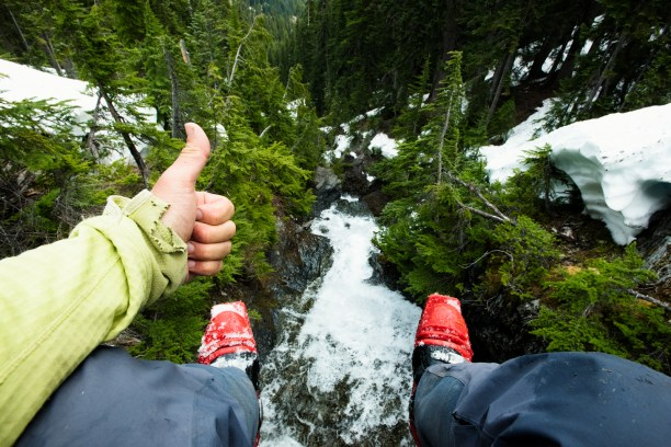 Thumbs up for the view into this crazy creek