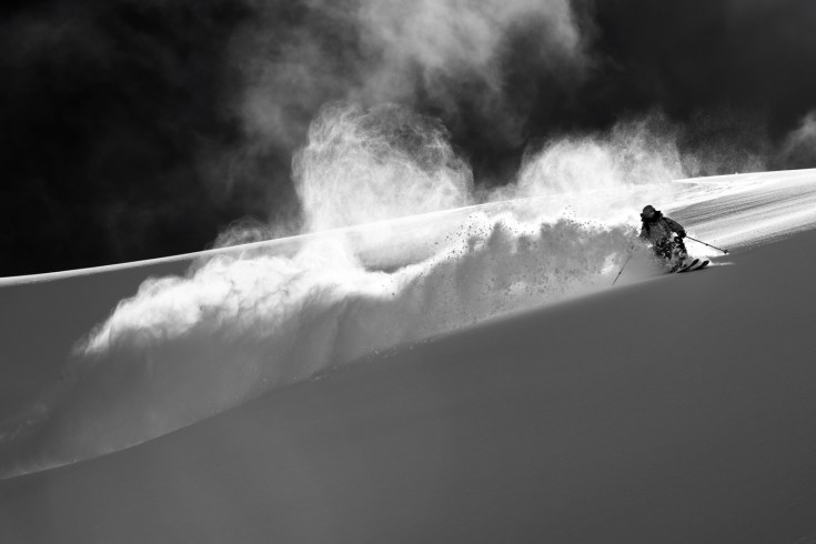 Adam in a whirlwind of powder.