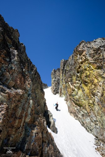 Climbing Rahm's access couloir