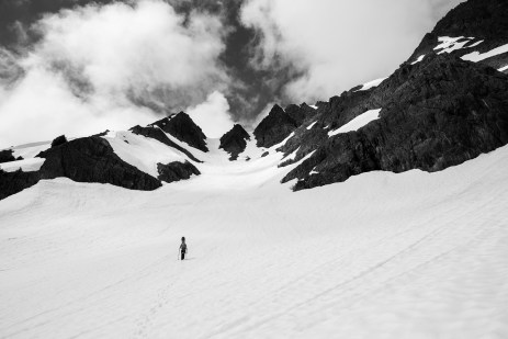 Jake and the couloir to the Hubert Glacier