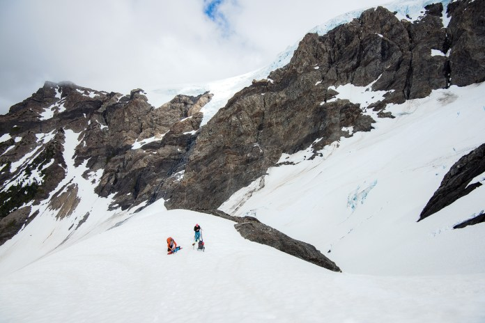 Back to the col after climbing back out of the Black Glacier