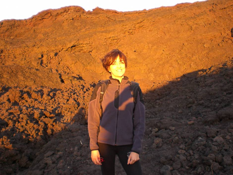 Happy, on my first ever volcano hike!