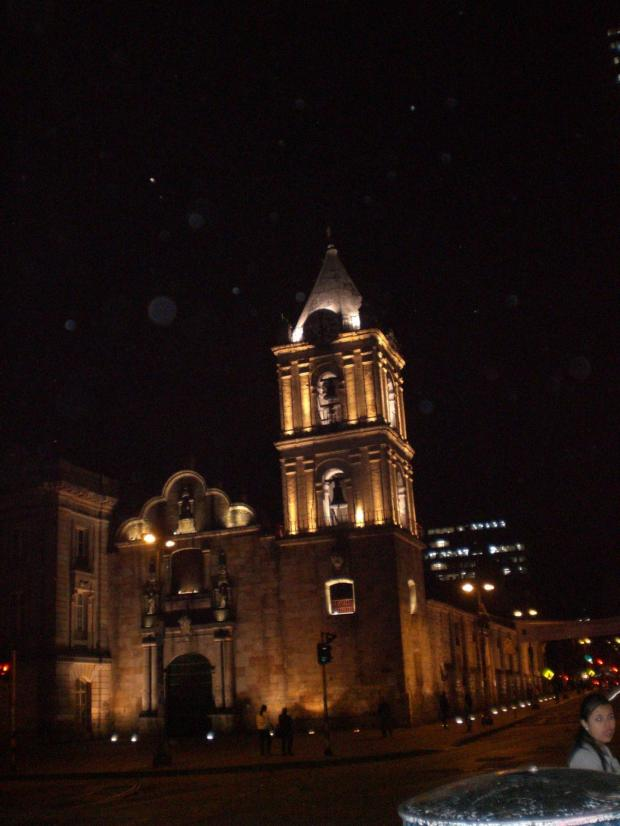 Candelaria at night is one of the things to do in Bogota
