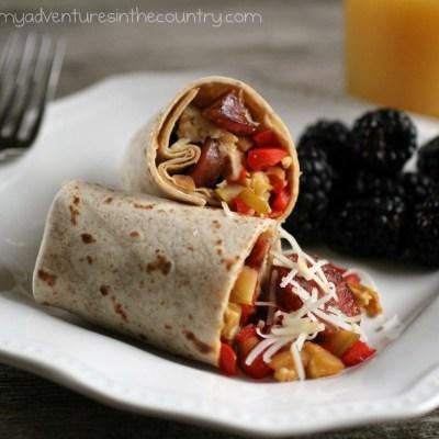 Hearty Chicken & Apple Sausage Breakfast Burrito