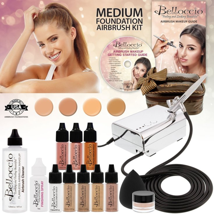 Belloccio Professional Beauty Airbrush Cosmetic Makeup System with 4 Medium Shades of Foundation in 1/