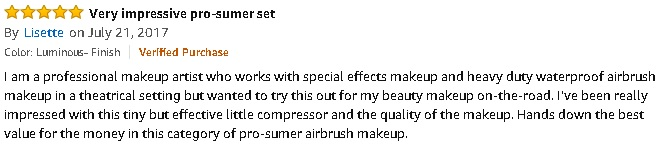 Amazon review of Photo Finish airbrush makeup system