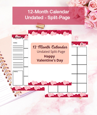 Valentine's Calendar - Undated - Split View
