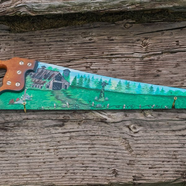 Handsaw Blade with Old Barn Scene