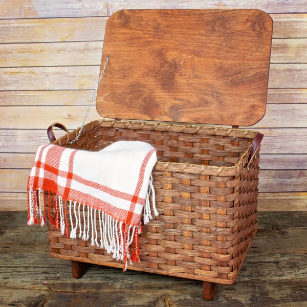 Small Blanket Basket Lid Brown