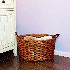 Large Oval Laundry Basket Brown