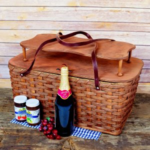 Large Picnic Basket Tray Brown