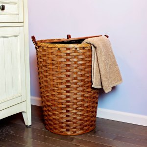 Large Round Hamper Basket Brown
