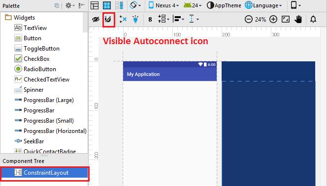 Constraint Layout - Visibile Autoconnect Icon