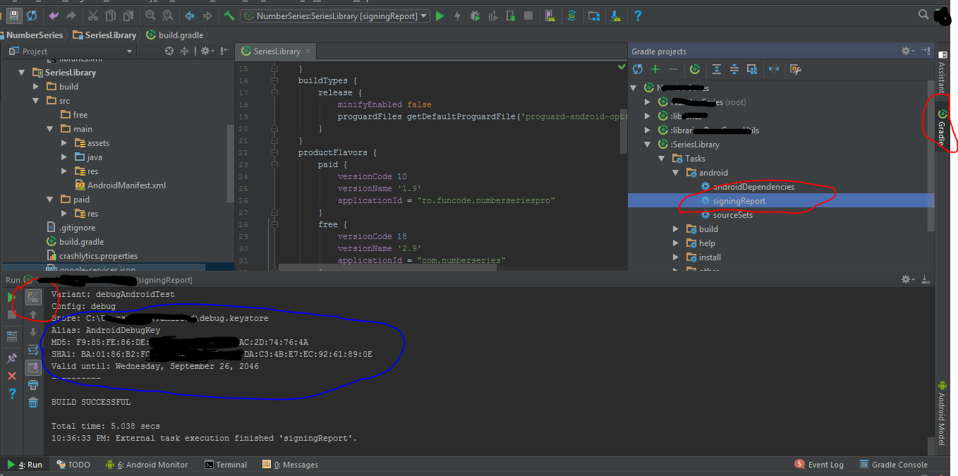 Android signing key SHA1 & MD5 AndroidStudio