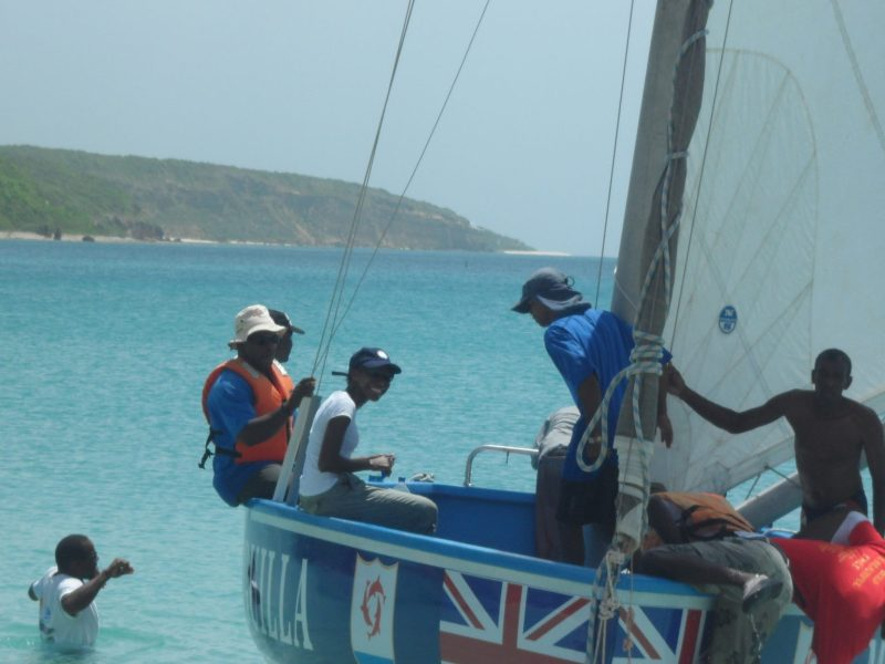Shelly on Miss Anguilla for short Boat race