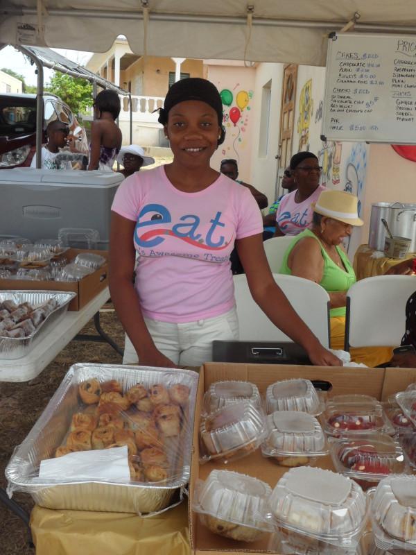 Eva of Eva's Awesome Treats (E.A.T) at South Valley Community Street Fair, Anguilla