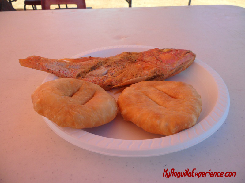 Fried fish and cakes at the fair