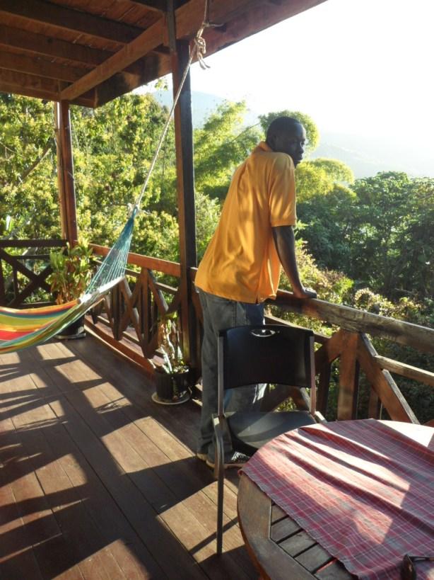Nash enjoying the view, Forres Park, Jamaica