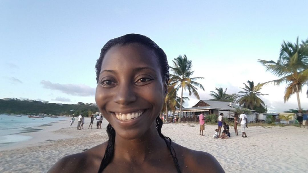 Selfie at a picnic in Sandy Ground, Anguilla
