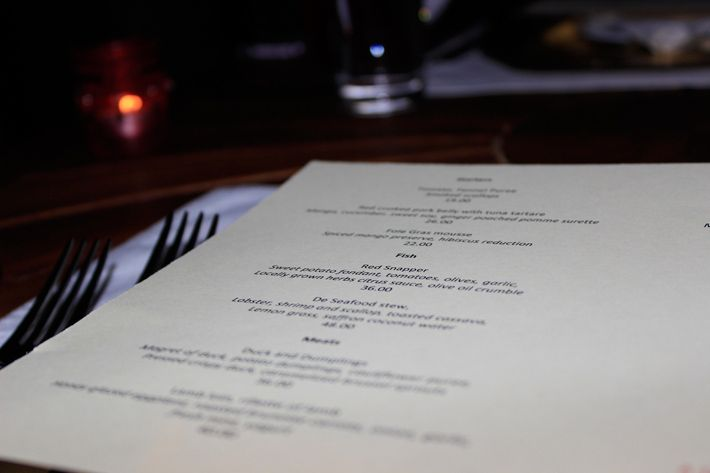 The Menu at De Cuisine