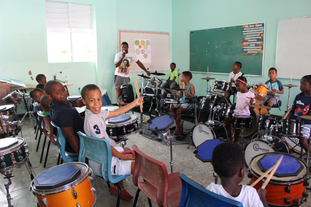 Young drummers at Youth ESCAPE 2018 drum camp