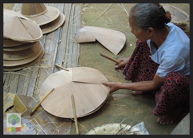Bamboo Husk Hat Workshop Mawlamyine (Moulmein) - Myanmar (Burma)