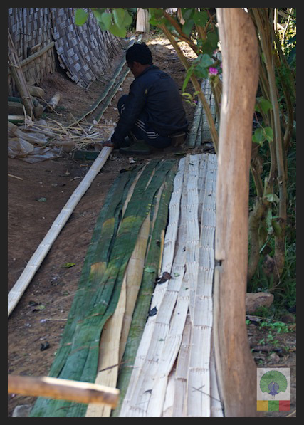 Cutting Bamboo for House Wall - Inle Lake - Myanmar (Burma)