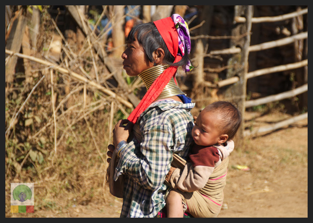 Padaung Ethnic Group Woman and baby - near Loikaw - Kayah State - Myanmar Travel Essentials 2