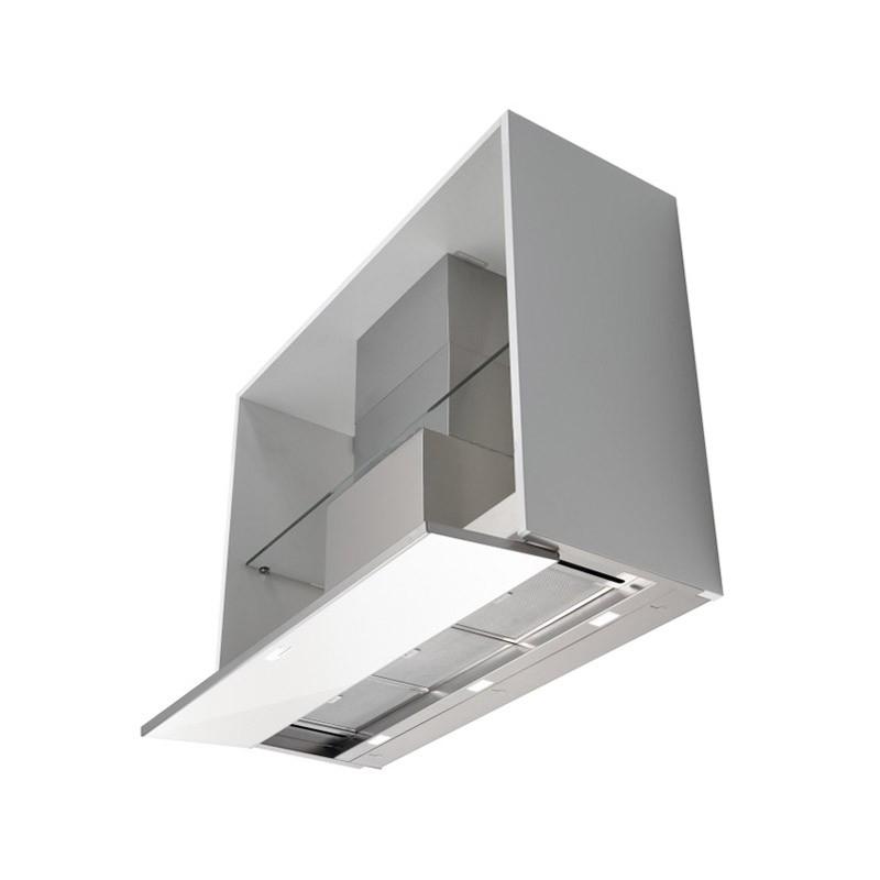 falmec hotte encastrable placard move blanc 120 cm acier inox et verre