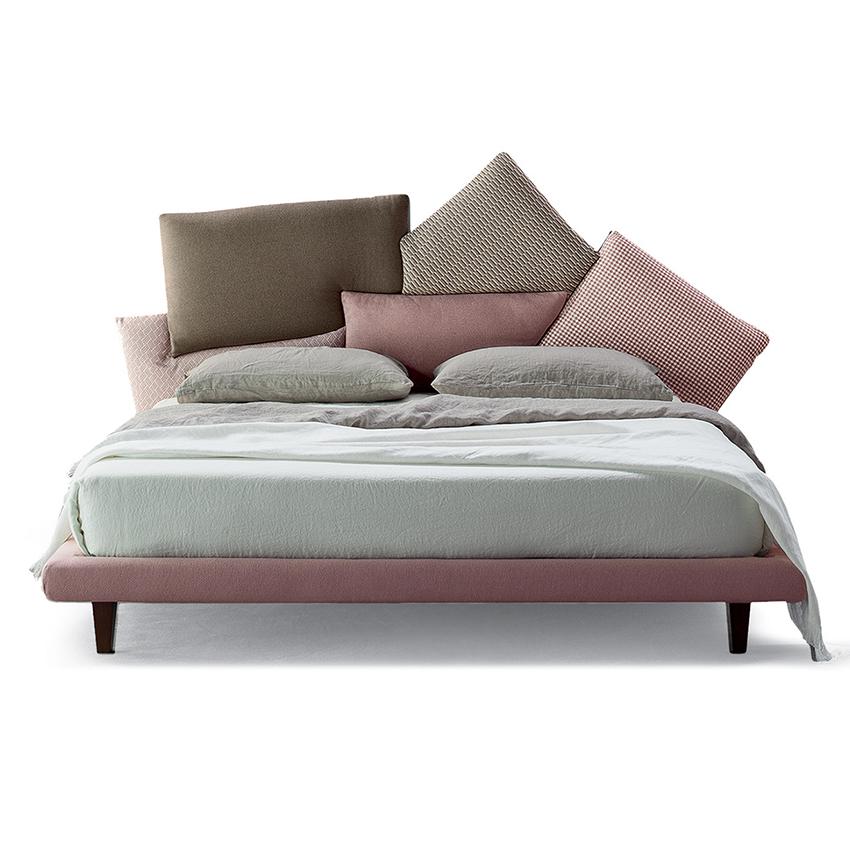 bonaldo lit deux places picabia avec bois de lit 160x200 cm rose marron tissu cat class et must pieds en bois teinte cerise