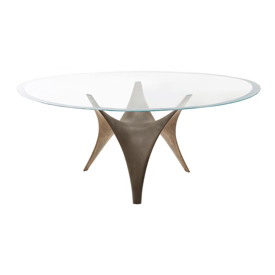 molteni c table ovale arc 200 x 130 cm bronze verre trasparente extraclair et ciment