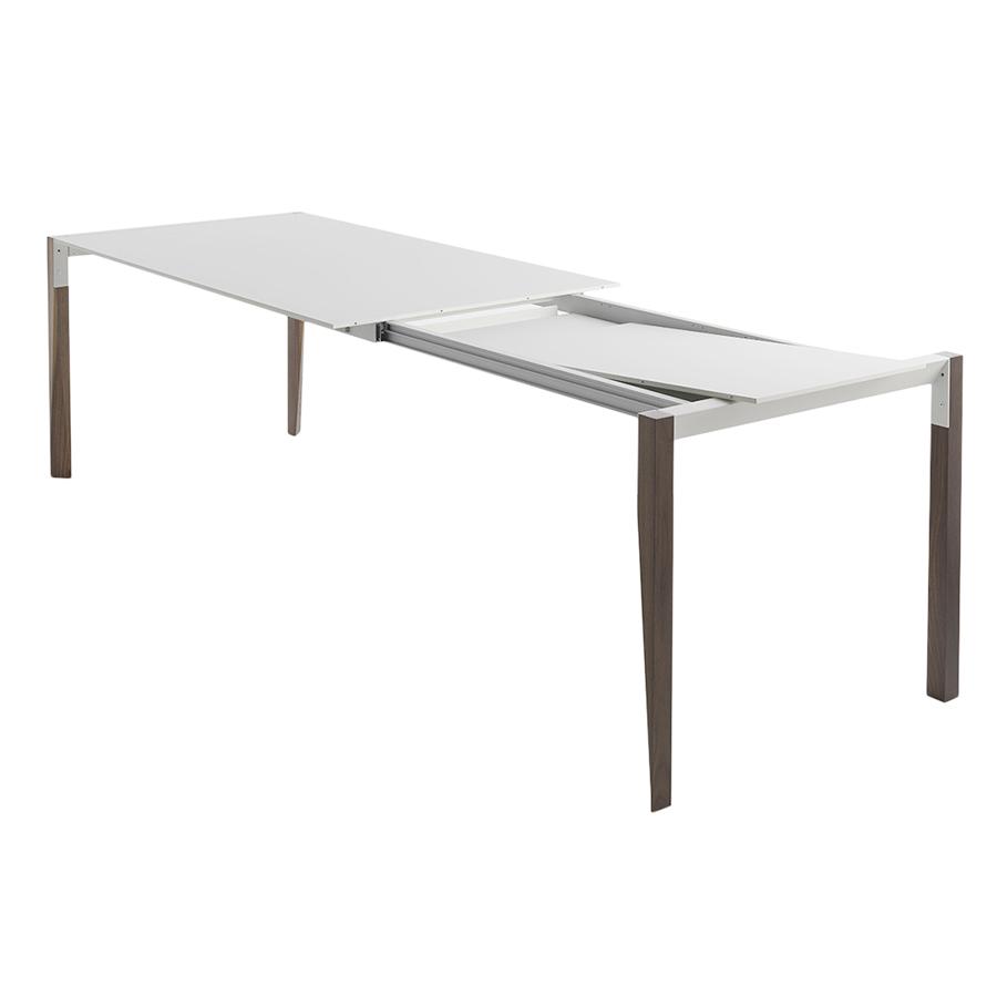 horm table extensible a rallonge rectangulaire tango avec plateau en fenix blanc