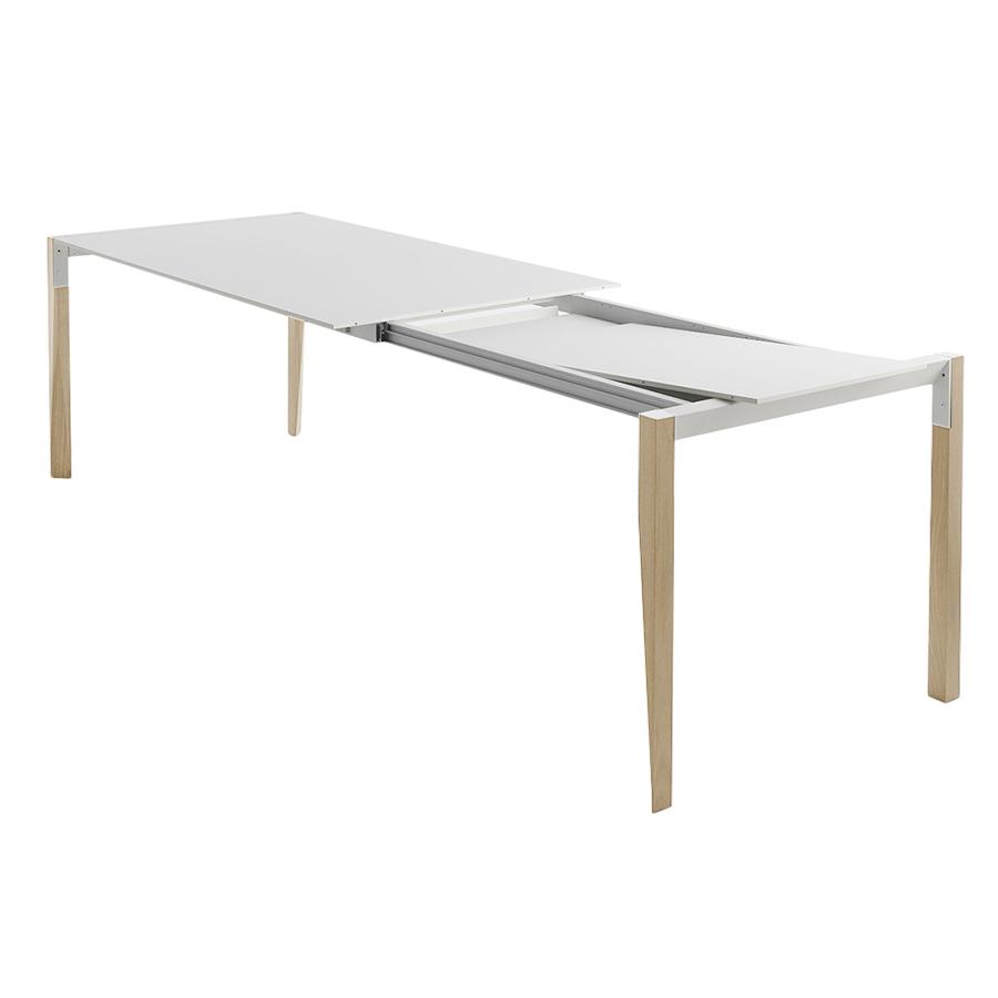 Horm Table Extensible A Rallonge Rectangulaire Tango Avec Plateau En Fenix Blanc 125 X 90 Cm Chene Naturel Bois Massift Et Fenix Myareadesign It