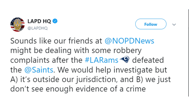 New Orleans, Los Angeles Police trade jabs on Twitter after