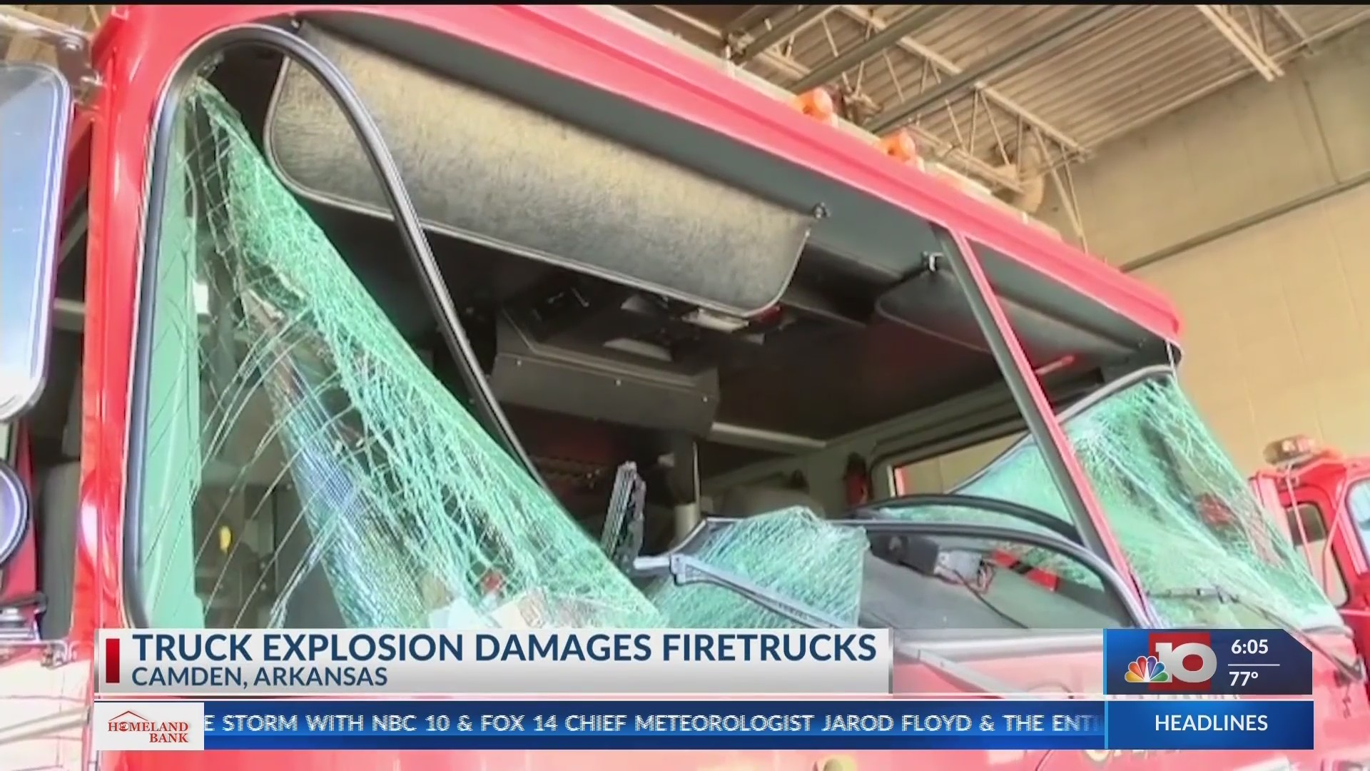 Truck explosion damages fire trucks