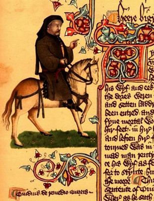 Image of Chaucer as a pilgrim from Ellesmere Manuscript in Huntington Library in San Marino California.  This manuscript is an early publishing of Canterbury Tales.
