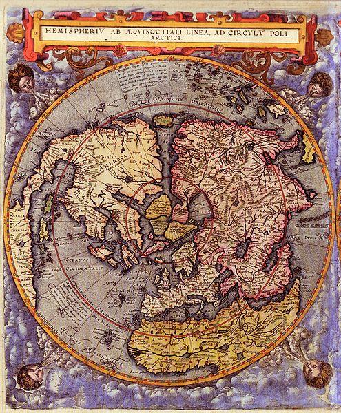 1593 map Northern Hemisphere, Gerard de Jode