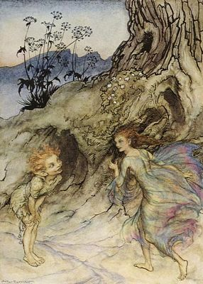 Puck from Midsummer Night's Dream by Arthur Rackham, public domain image