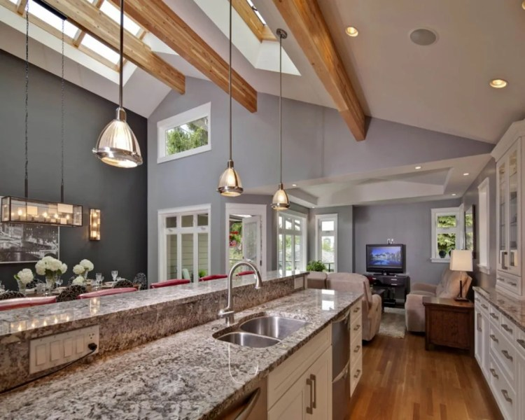 Contemporary decoration for vaulted ceiling kitchen lighting ideas     Contemporary decoration for vaulted ceiling kitchen lighting ideas with  skylight