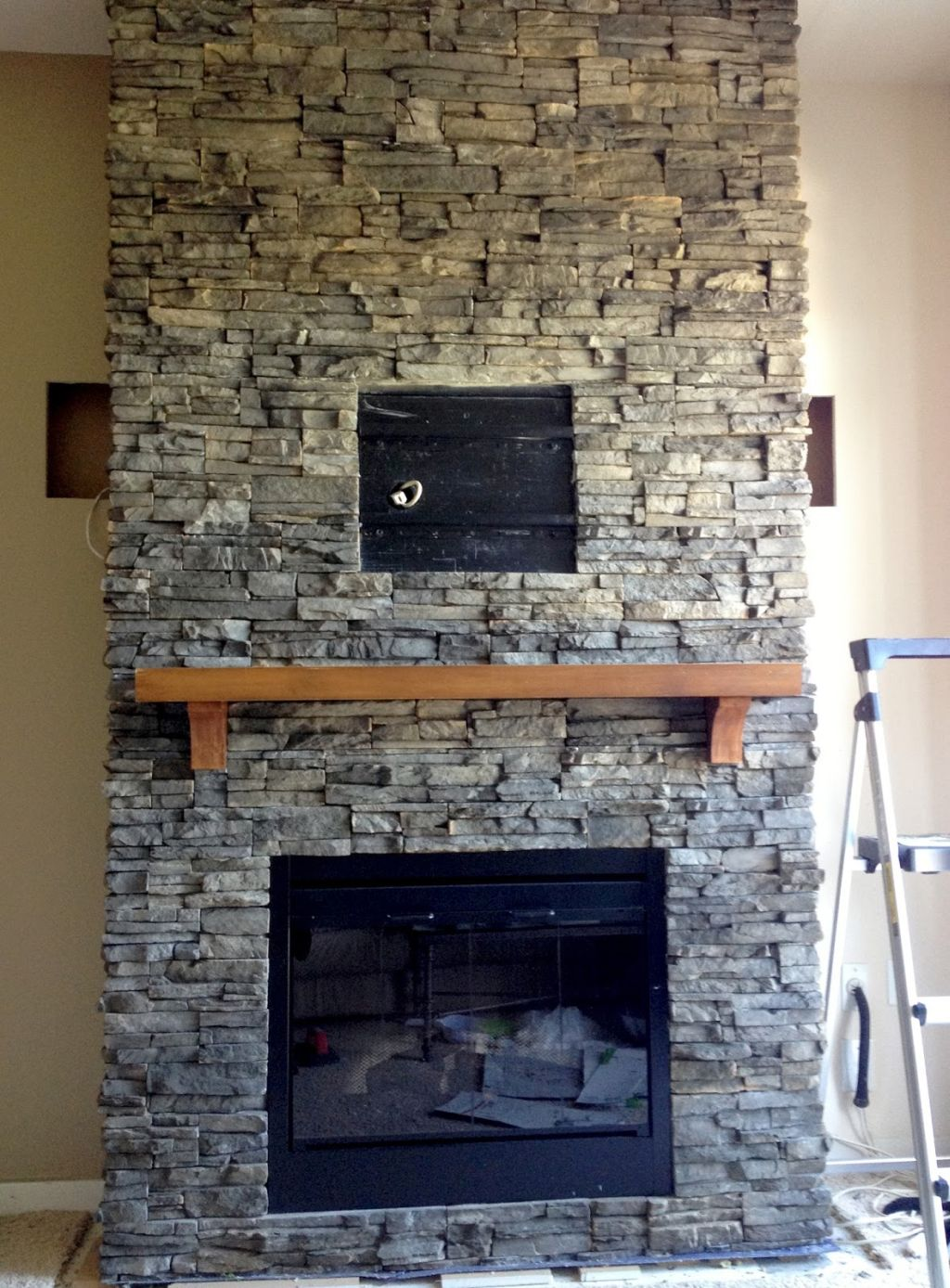 Image Result For Rock Fireplace With Built In Bookcase Designs