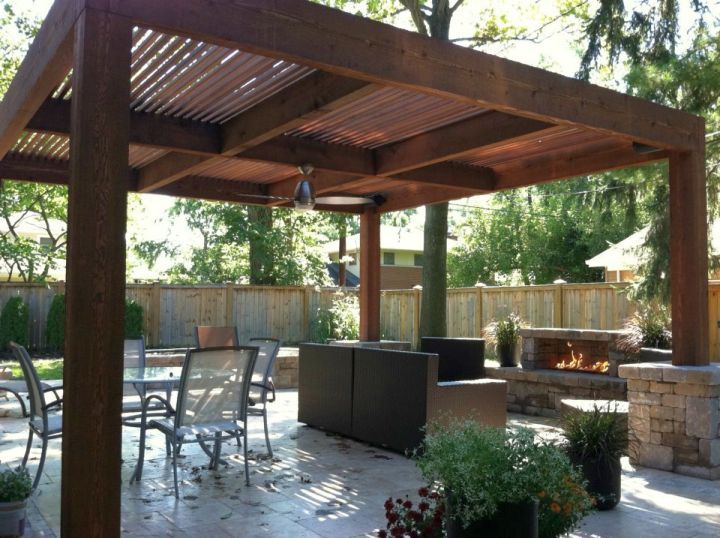 simple modern pergola kit with outdoor fireplace on Simple Outdoor Fireplace Ideas id=62086