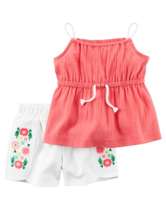 0fbf380fb 2-Piece Crinkle Tank & Embroidered Short Set