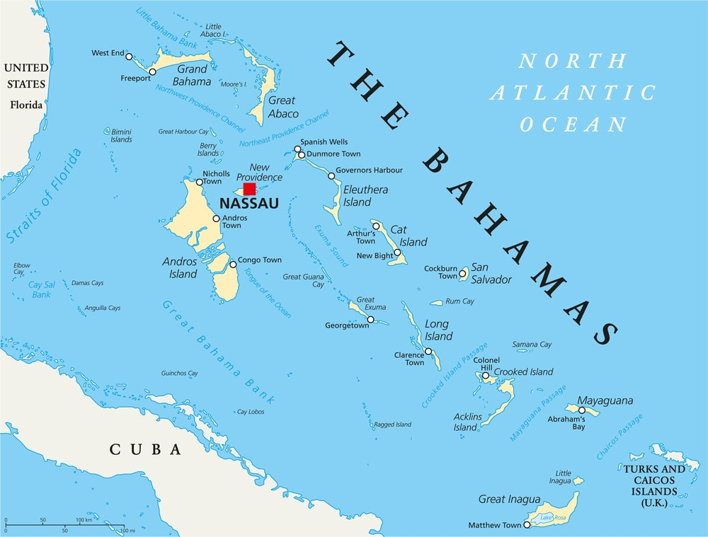 Map of Bahamas w/ Out Islands