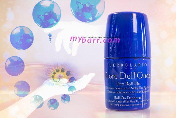 Roll on nichel tested deodorante fiore dell'onda l'Erbolario con ninfea blu e alga nori senza alcool e sali alluminio