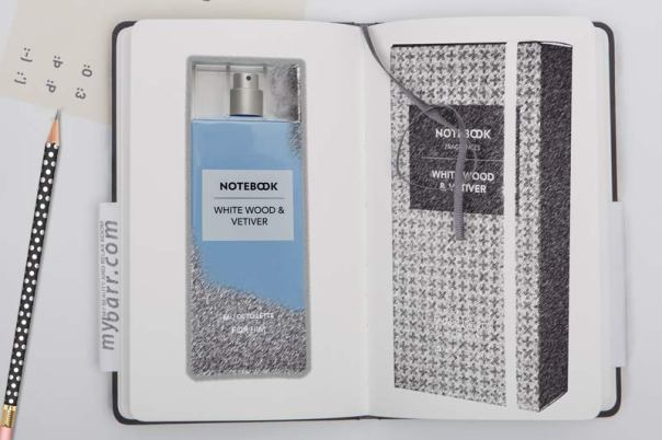 notebook fragrances uomo white wood e vetiver mybarr