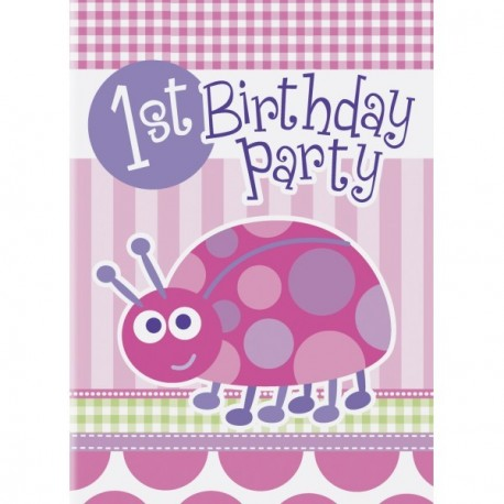 carte d invitation premier anniversaire de bebe fille theme coccinelle