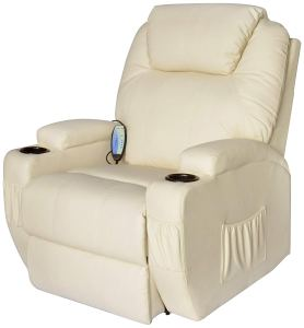 Homcom Faux Leather Heated Vibrating Recliner Chair w Remote